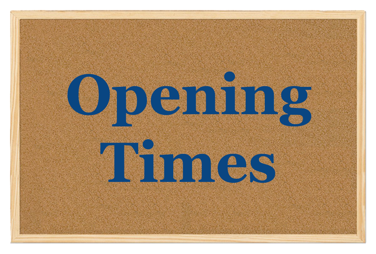 Click to view our opening times